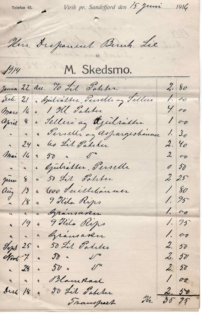 Bilde av Kvittering 1916