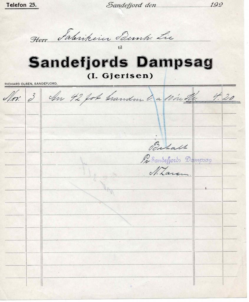 Bilde av Sandefjords Dampsag (I. Gjertsen)