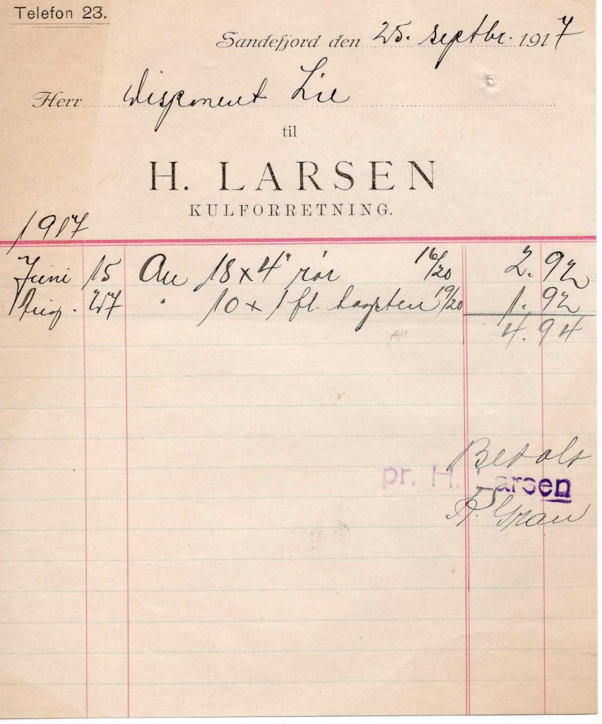 Bilde av Kvittering 1917