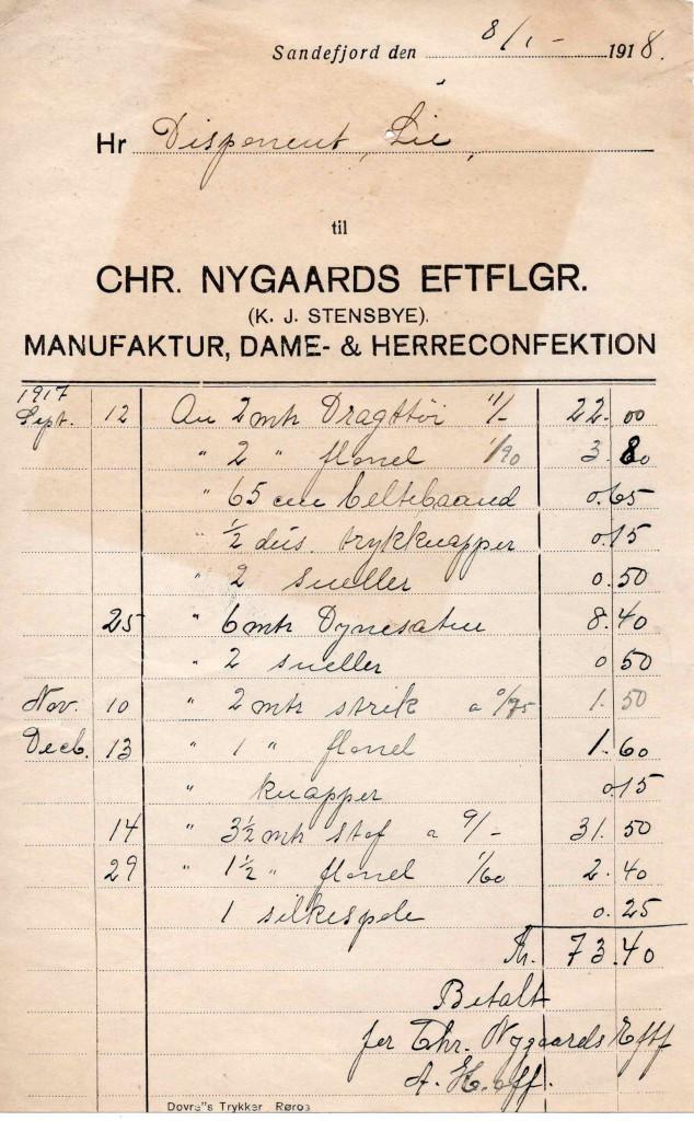 Bilde av Chr. Nygaards Eftf. (K. J. Stensbye),  Manufakturforetning