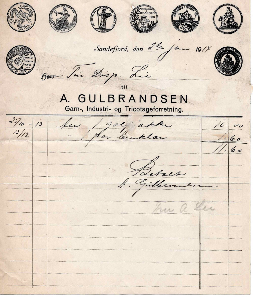 Bilde av A. Gulbrandsen, Garn-, Industri- og Tricotageforretning