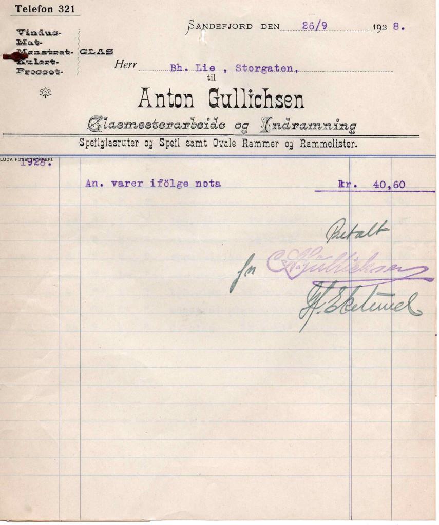 Bilde av Kvittering 1928