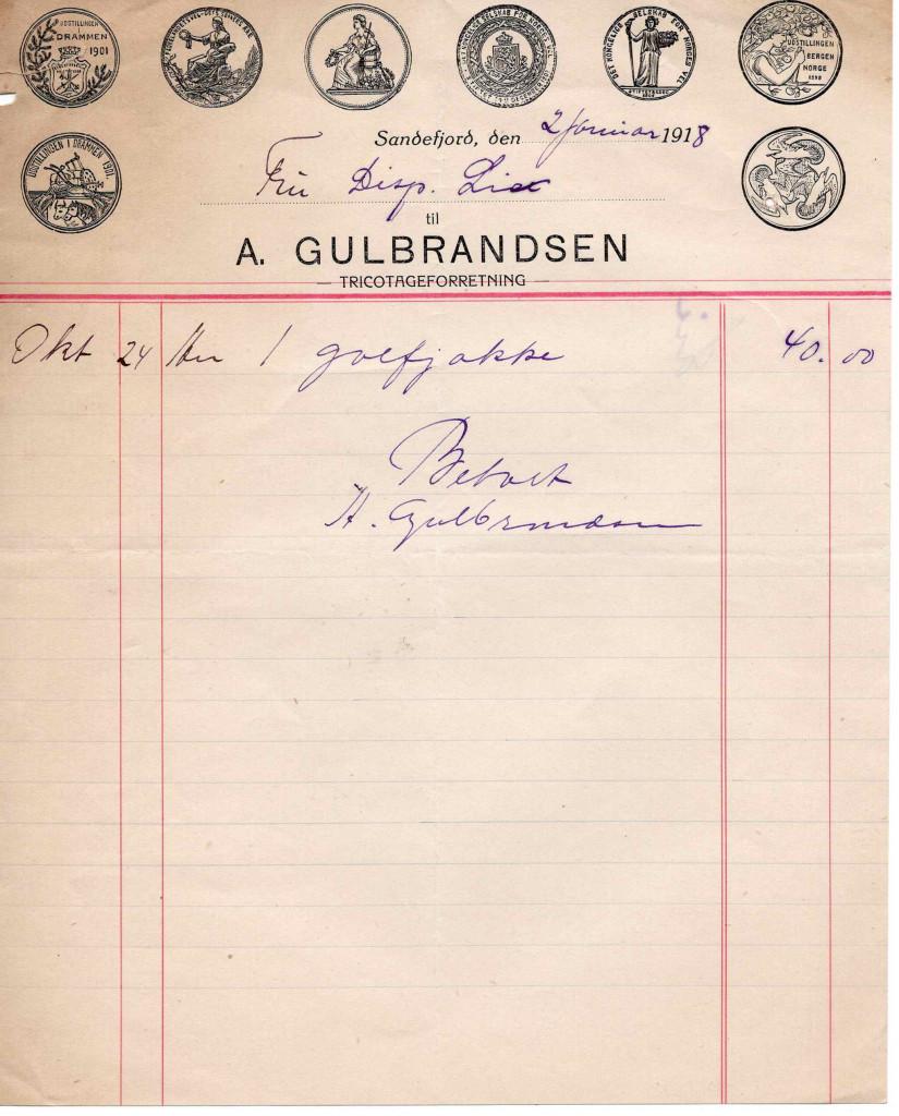 Bilde av Kvittering 1918