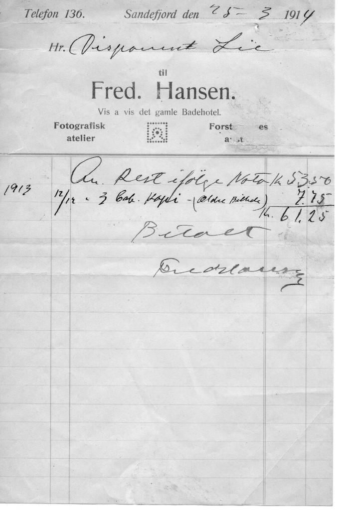 Bilde av Kvittering 1914