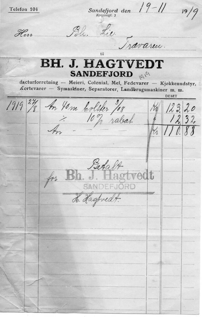 Bilde av Bh. J. Hagtvedt, meieri, kolonialvarer