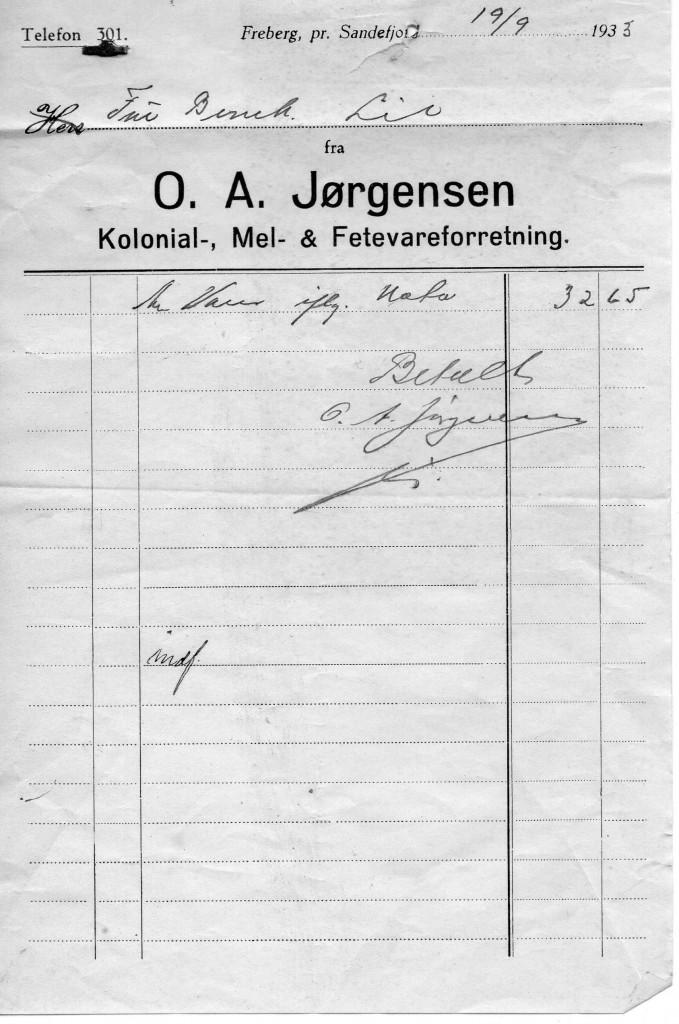 Bilde av Kvittering 1933