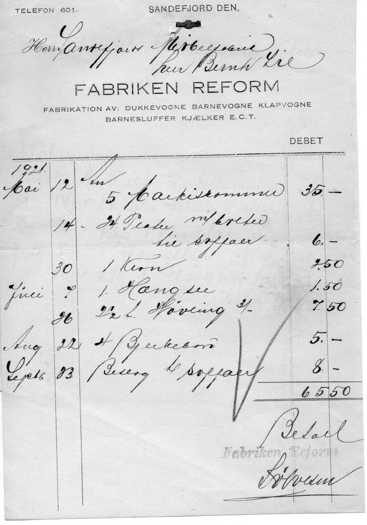 Bilde av Fabriken Reform, Fabrikation av barnevogne, dukkevogne, klapvogne, barnesluffer, kjælker e.t.c.
