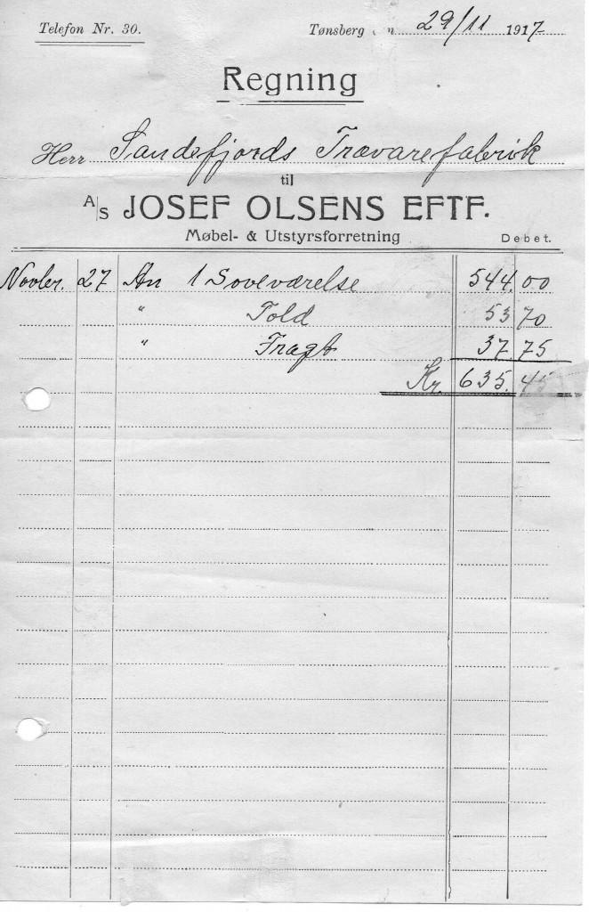 Bilde av A/S Josef Olsens Eftf., Møbel & Utstyrsforretning