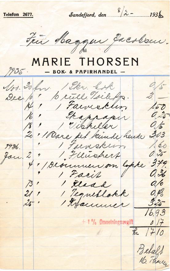 Bilde av Marie Thorsen, bok- og papirhandel