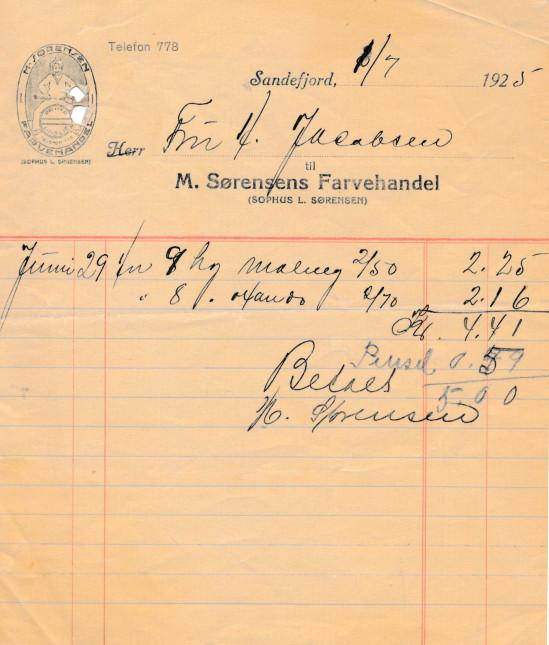 Bilde av M. Sørensens Farvehandel (Sophus L. Sørensen)