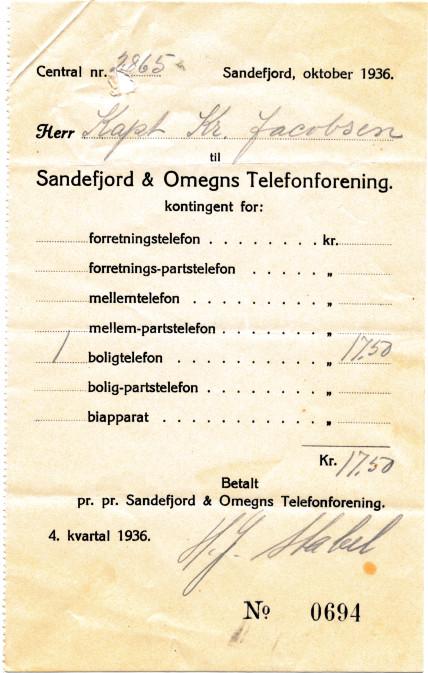 Bilde av Sandefjord & Omegns Telefonforening