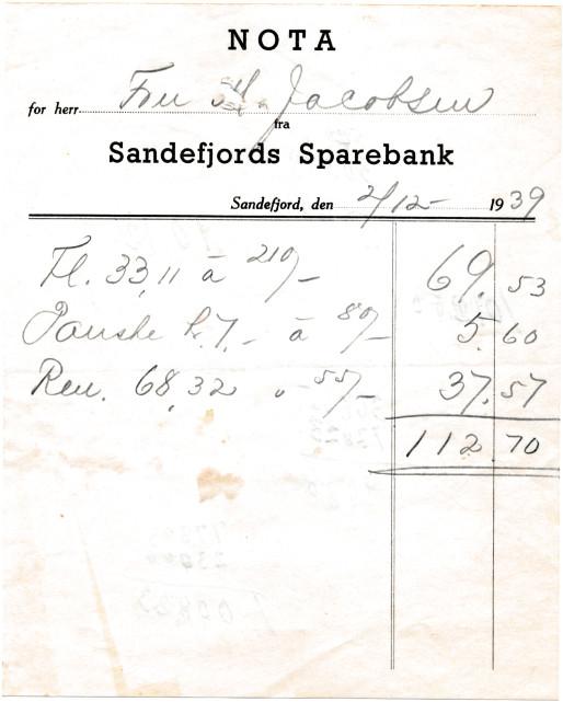 Bilde av Sandefjords Sparebank Kvittering