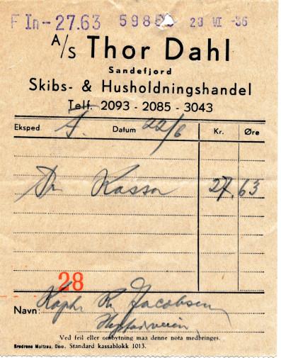 Bilde av A/S Thor Dahl Skipshandel.  Kvittering