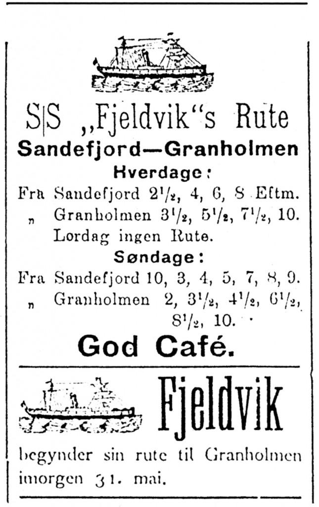 Bilde av S/S Fjeldvigs rute 1908