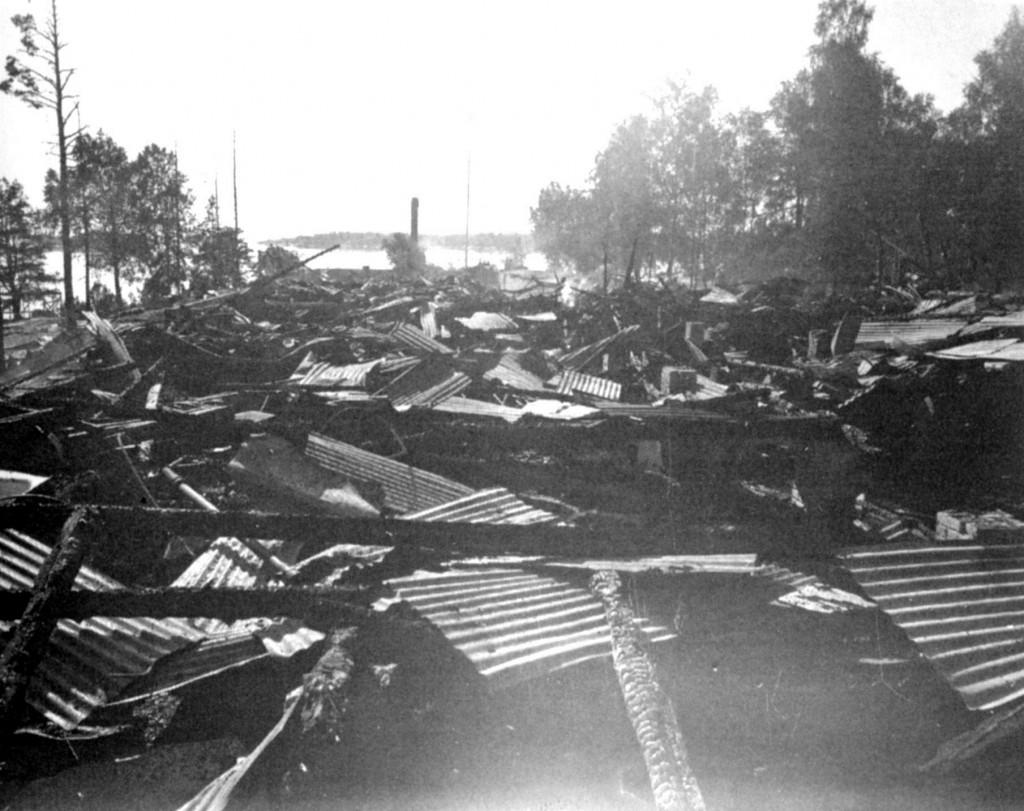 Bilde av Granholmen hotell etter brannen
