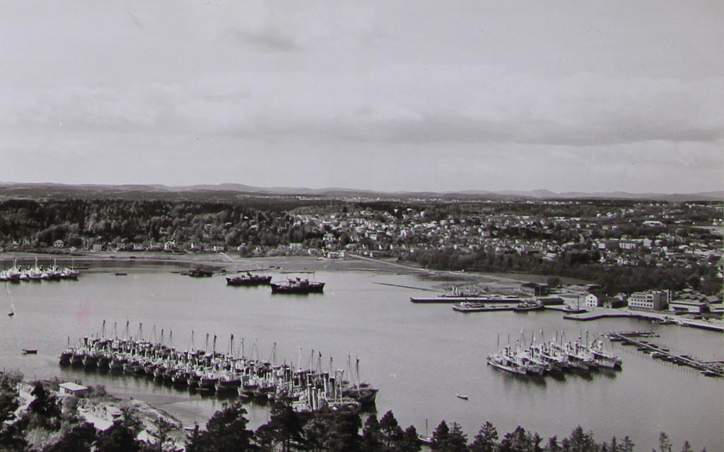 Bilde av Indre havneområdet sett fra Fjeldvikåsen.