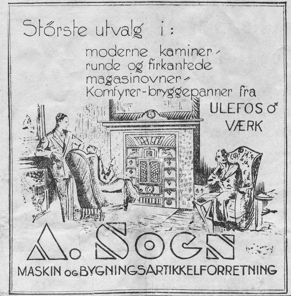 Bilde av Annonse for A. Sogn jernvarehandel