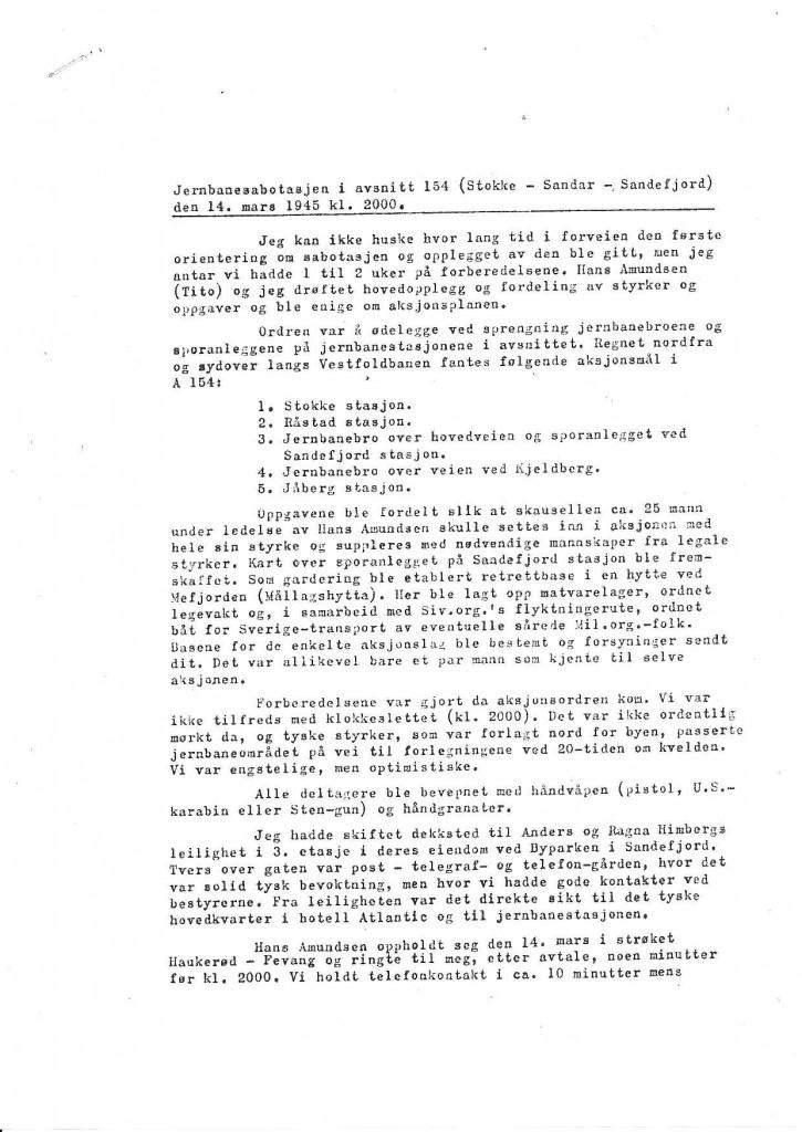 Bilde av Rapport fra Oddvar Midttun - side 1
