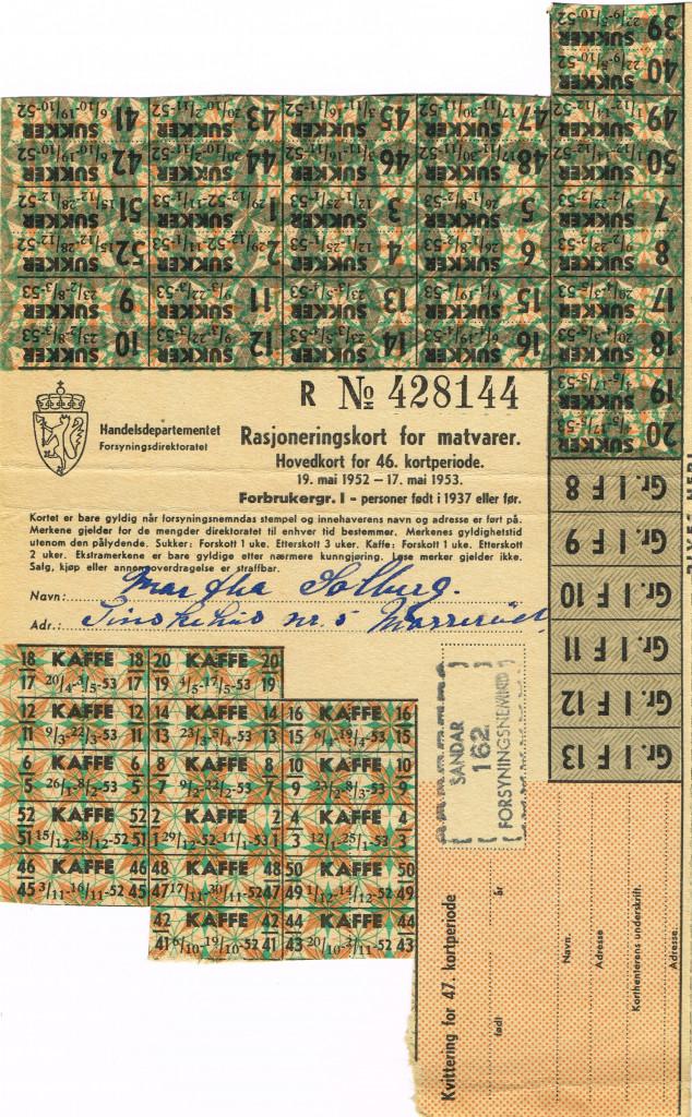 Bilde av Rasjoneringskort for matvarer, forside