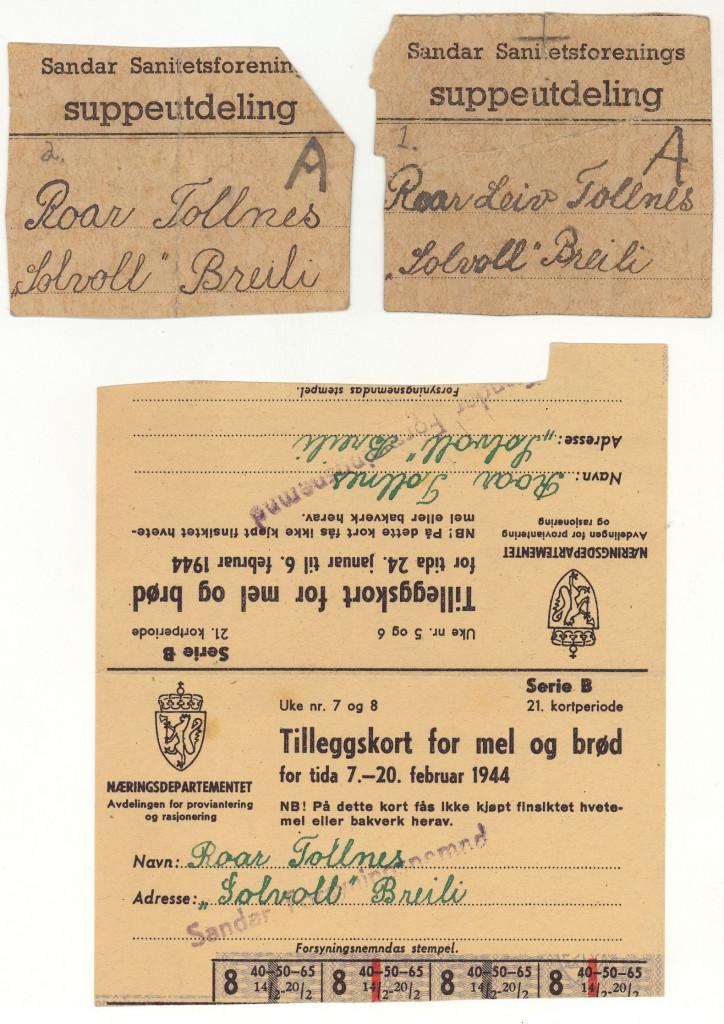 Bilde av Rasjoneringskort, brød og mel, suppe
