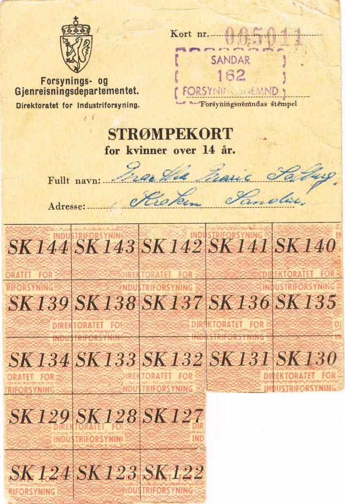 Bilde av Strømpekort, rasjoneringskort, forside