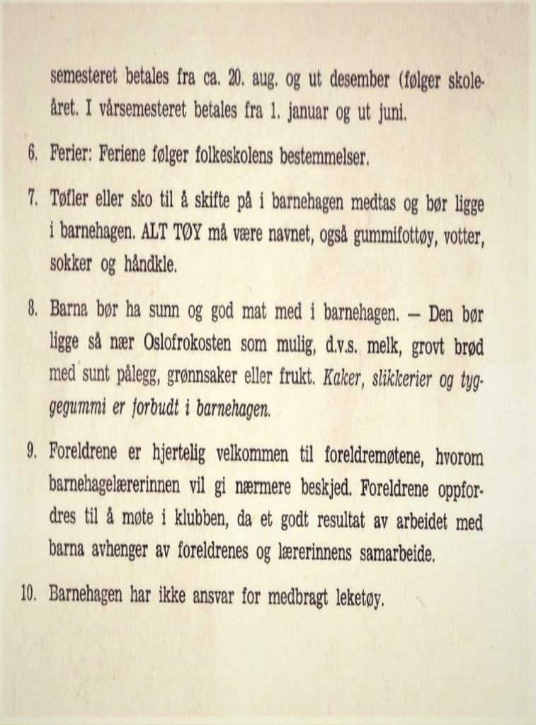 Bilde av Haukerød barnehage - reglement 1962