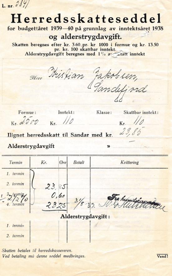 Bilde av Herredskatteseddel for budgettåret 1938