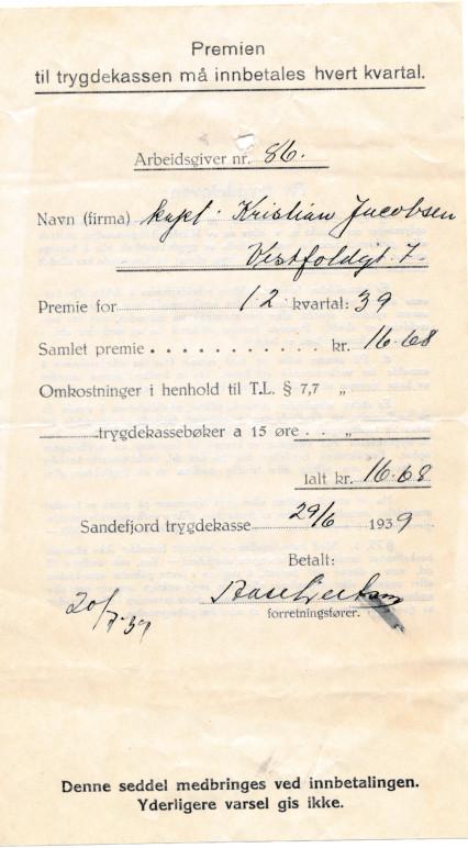 Bilde av Premie til Sandefjord trygdekasse 1939