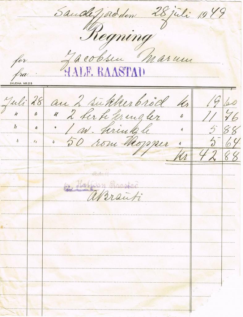 Bilde av 1949 - kvittering