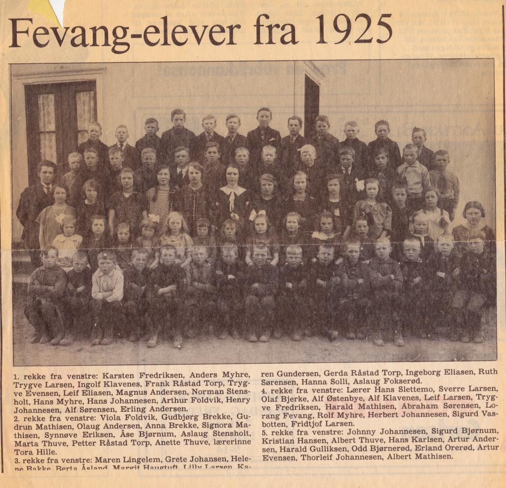 Bilde av Fevang-elever 1925