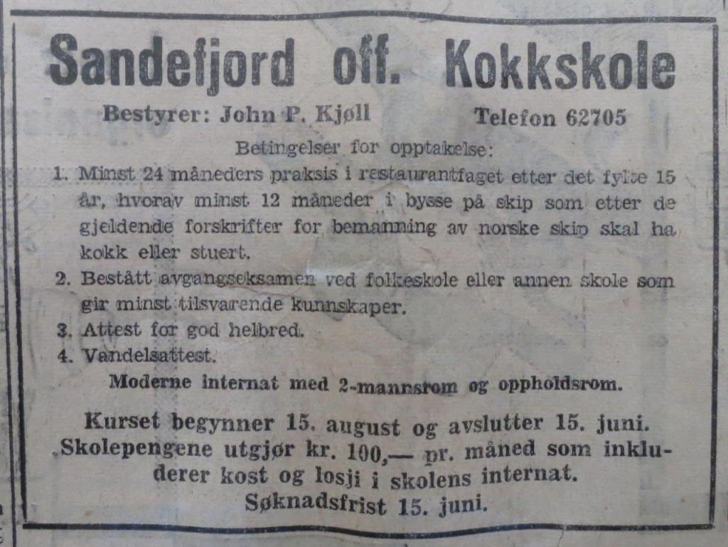 Bilde av Annonse i Sandefjords Blad shippingnr. i 1956