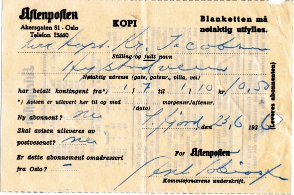 Bilde av Abonnement Aftenposten  1936
