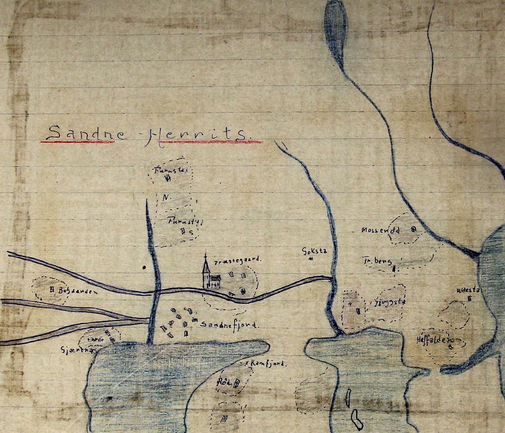 Bilde av Antagelig det eldste kart som finnes over Sandefjord. Ca 1500 ?