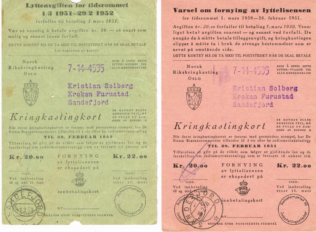 Bilde av Lytteavgift 1951-52