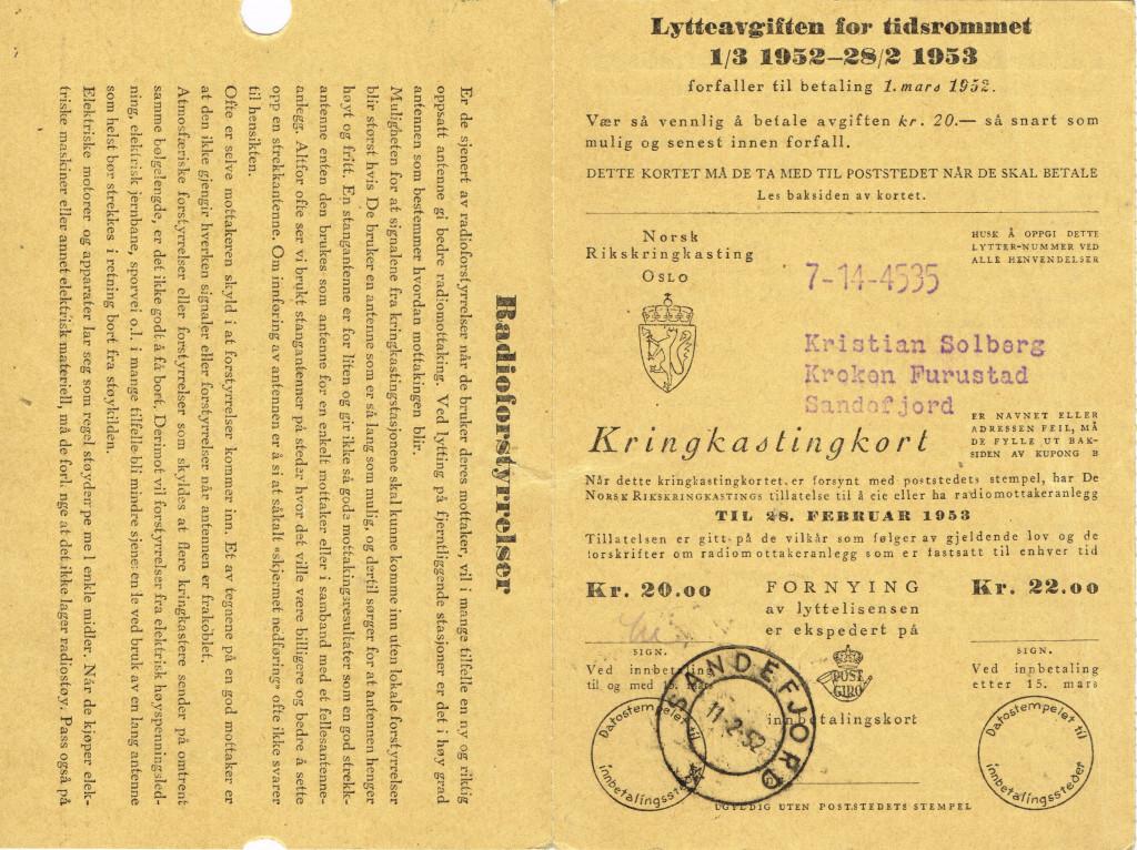 Bilde av Lytteavgift 1951-53