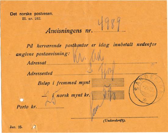 Bilde av Postanvisning fra 1925