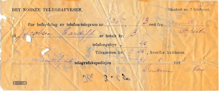 Bilde av Telefon-telegram fra 1928