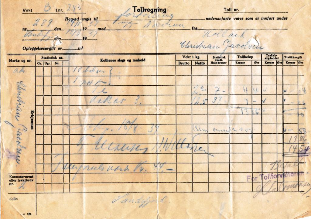 Bilde av Tollregning fra 1939