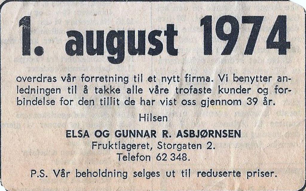 Bilde av Annonse 1974 - overdragelse