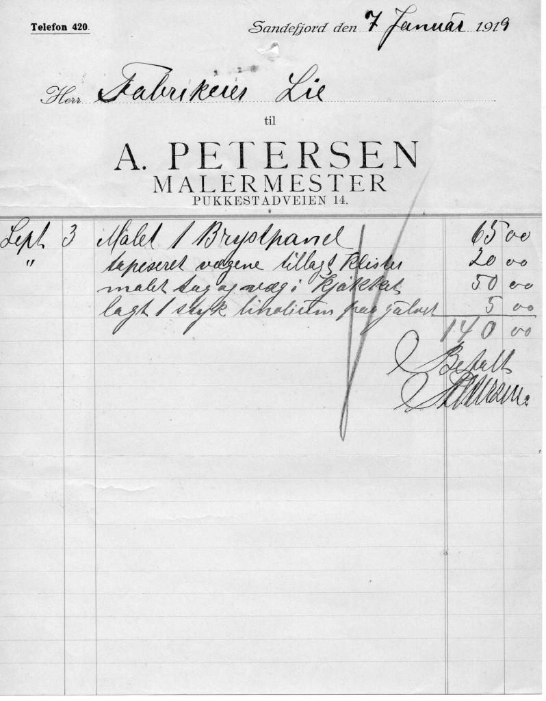 Bilde av Kvittering fra 7.1.1919
