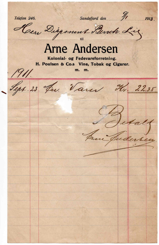 Bilde av Kvittering fra 1913