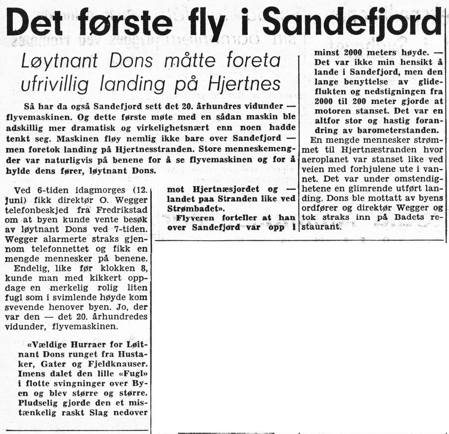 Bilde av Avisomtale av det første flybesøket i Sandefjord