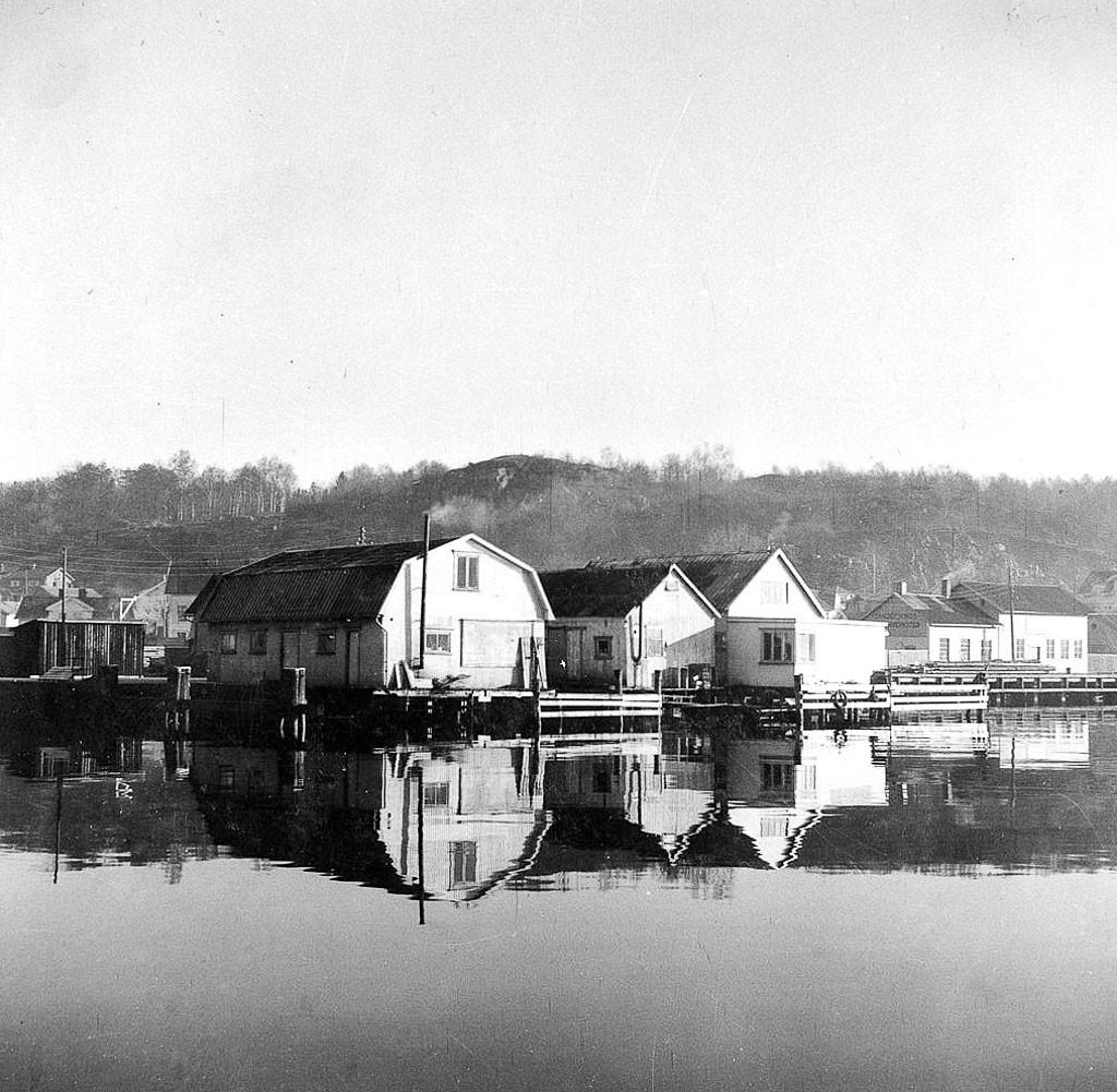 Bilde av Brygga og Fiskebasarene omkring 1925
