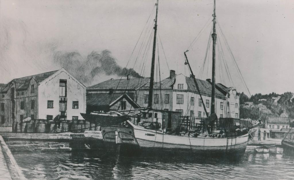 Bilde av Tegning fra bryggeområdet