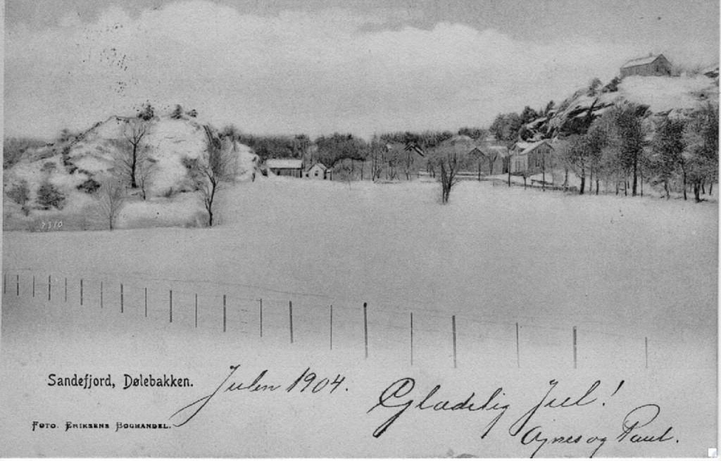 Bilde av Gammelt vintermotiv fra Dølebakken