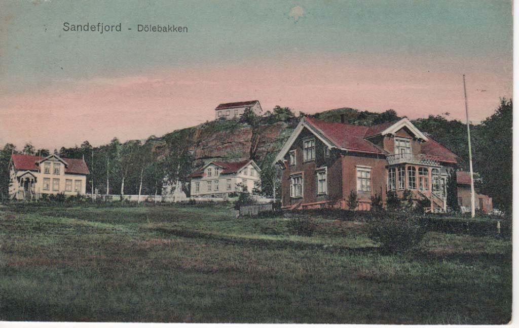 Bilde av Kolorert postkort av Dølebakkenbebyggelse