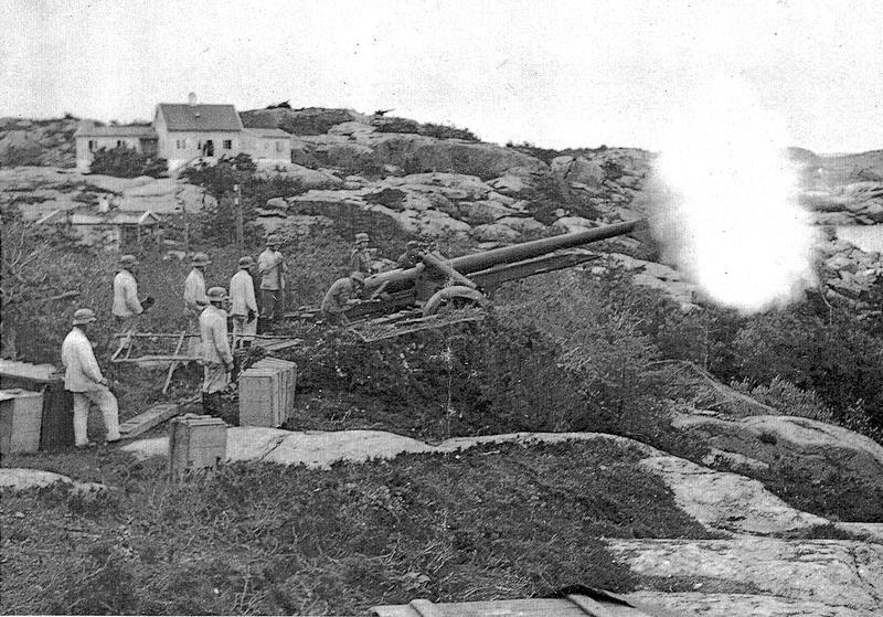 Bilde av Folehavna Fort - skyting med kanon