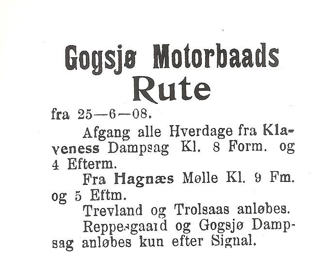 Bilde av Gogsjø  -  Fergeforbindelse 1908