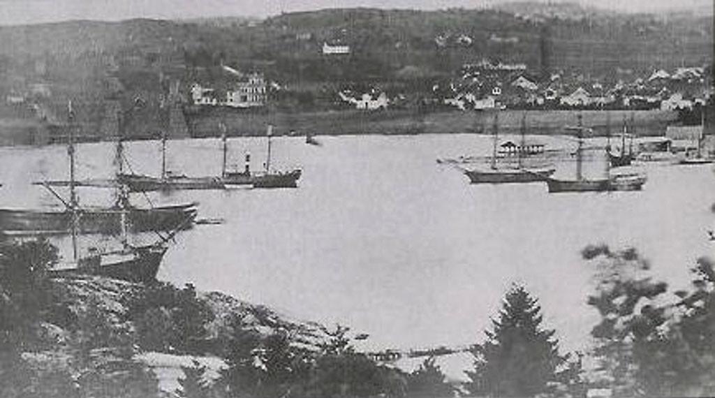 Bilde av Sandefjord havn fra 1880-årene