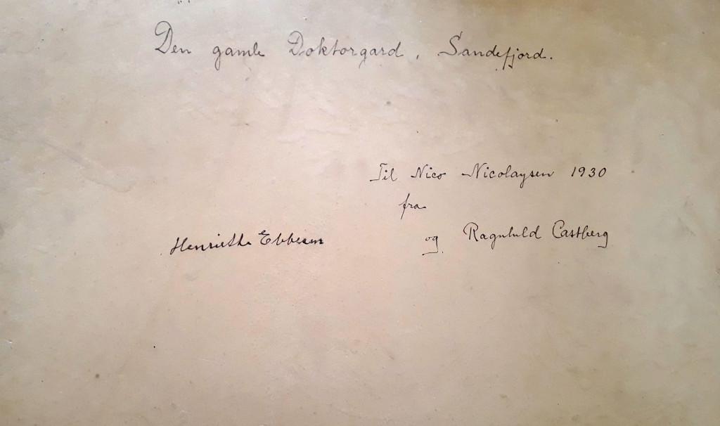 Bilde av Håndskrevet hilsen på baksiden av maleriet/Rådhusgata 3